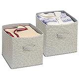 mDesign 2er-Set Stoffbox für Schrank oder Schublade – (34x32x32) – ideale Aufbewahrungsbox für Wäsche, Accessoires etc. – flexibel verwendbare Stoffkiste mit Zick-Zack-Muster – taupe/natur