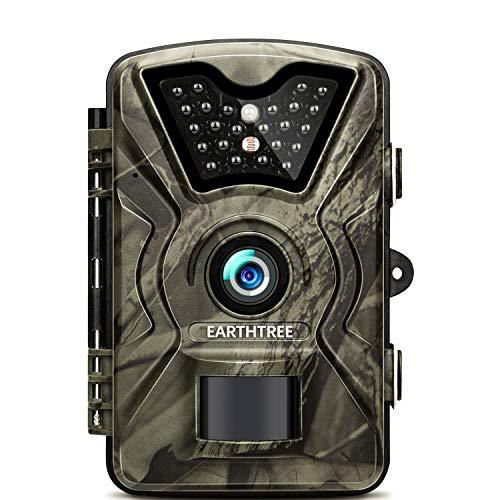 """EARTHTREE Wildkamera, 14MP 1080P Full HD Jagdkamera Low Glow Infrarot 20m Nachtsicht Überwachungskamera 2.4"""" LCD IP66 Wasserdichte Nachtsichtkamera Wildkamera Fotofalle"""