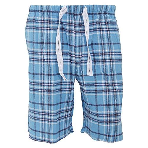 Cargo Bay Herren Flanell Pyjama Shorts kariert (S (Bund 76-81cm)) (Blau/Schwarz/Weiß) (Für Flanell-pyjama Herren)