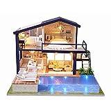 Godbless Puppenhaus 1 Stück DIY puppenhaus mit Licht Wünderschön gestaltetes Modell Kreativ Geburtstag Weihnachts Geschenk (Villa mit Schwimmteich)
