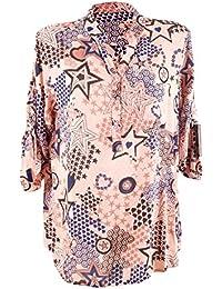 Moda Italy Damen Schlupfbluse Bluse Fischerhemd mit Sternen Muster V- Ausschnitt und Langen Ärmel mit Knopfriegel… 92c45ed282