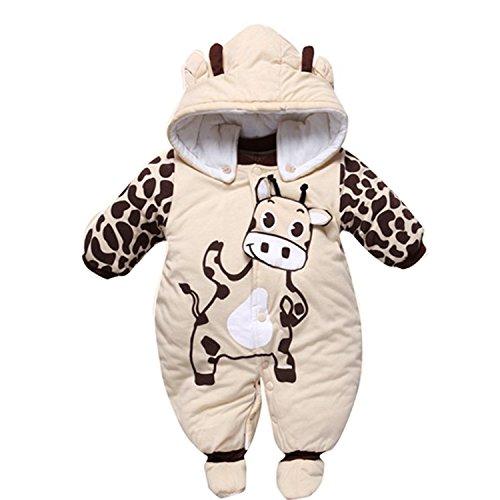 Gaorui Babys Schneeanzug Overall Winterjacke Schlafstrampler mit Tiere Muster Süßigkeit