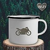 The Manufacture Motorrad Freiheit Emaille Becher Tasse als Geschenk, weiß Wanderlust Reisen Accessoires Outdoor