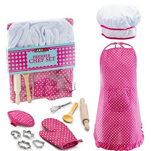 r, 11 Rolle Küche Spielzeug Spielen Kinder Kochutensilien Küche Supplies Set mit Schürze, Kochmütze, Zubehör für Kleinkinder (Rosa) ()