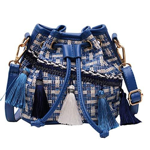 2019 New National Style Umhängetasche Quaste Mode Schulter Eimer Tasche, Damen Kleine Trapez Umhängetasche, Mädchen Schultertasche Kleine Shopper Handtaschen (Blau) -