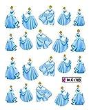 CartoonPrintDesign - 2 Stück Nagel Sticker Cartoon Water Transfer Sticker Nailart Wasser Nagelsticker Nagel Tattoo Nagelaufkleber Disney Princess Cinderella Design - B1703