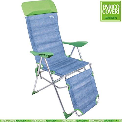 Sedia Sdraio Relax in Alluminio Reclinabile 5 Posizioni Pieghevole tessuto Oxford Jeans con Poggiapiedi, Poggiatesta e Poggiagomiti Verde, Enrico Coveri Mare