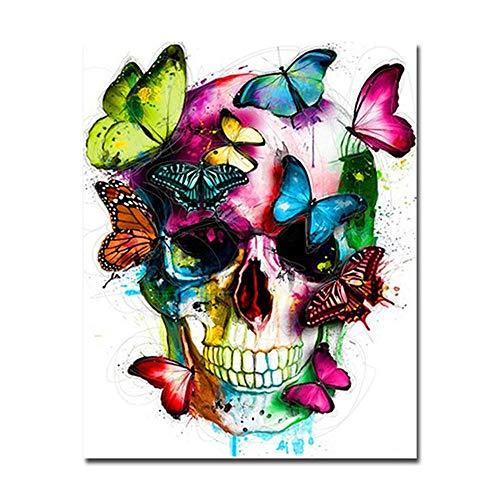 RTDHU Malen Nach Zahlen DIY Abstrakte Schmetterling Malen Nach Zahlen Bunte Schädel Ölbilder Wohnkultur Digitale Hand Malen Färben Auf Leinwand Wandkunst 40X50 cm Rahmenlose