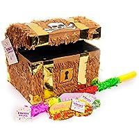Trendario Pinata Set Schatztruhe, Pinjatta + Stab + Augenmaske, Ideal zum Befüllen mit Süßigkeiten und Geschenken - Piñata Schatzkiste für Piraten Kindergeburtstag Spiel, Geschenkidee, Party, Hochzeit