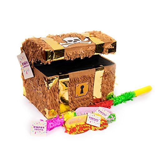 (Trendario Pinata Set Schatztruhe, Pinjatta + Stab + Augenmaske, Ideal zum Befüllen mit Süßigkeiten und Geschenken - Piñata Schatzkiste für Piraten Kindergeburtstag Spiel, Geschenkidee, Party, Hochzeit)
