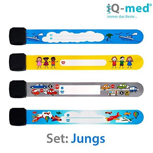 M/ädchen wiederverwendbar wasserfest Notfall-Armband f/ür Kinder von iQ-med mit jedem Kulli beschreibbar 6er Set