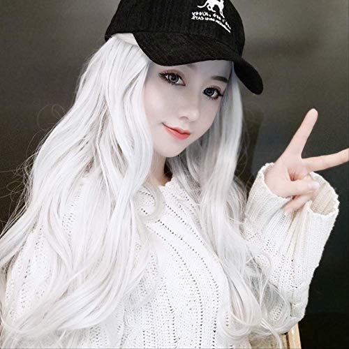 Perücke Cosplay,Sekundäre Meta-Animation Cosplay Fake Wolle Frauen Big Man Silber Weiß Perücke Männlich Mittelgroße Welle Langes lockiges Haar Halloween