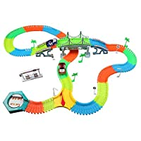 infinitoo 220 Pcs Neon Parts Magic Glow Tracks Racer Set, 2 Light-up Race Flexible Cars with LED Lights, Bendable Magic Glow Tracks in the Dark Racetrack for Kids Children Toddlers
