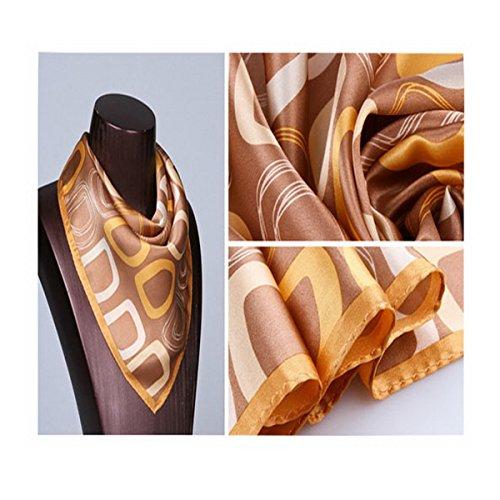 Ahatech Femme Foulard en Soie Petit Carré Écharpes Mode Imprimé Silk Scarf Color 4