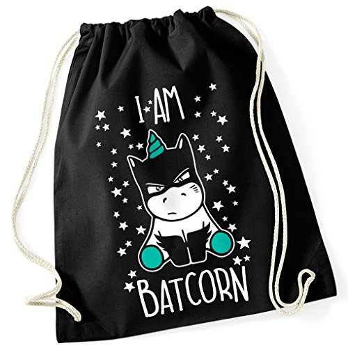 I am Batcorn Einhorn Batman Unicorn Comic / Turnbeutel mit Fun Motiv Aufdruck / Rucksack GYM Tasche / Ideales Geschenk, Farbe:Black (Schwarz) / (Kostüm Anderen Einer Farbe Pferd Von)
