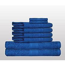 Set de 8 Toallas clásico -. Calidad 500 g / m² - todos los colores - Toallas de 4x - 2x toallas de baño - 2 Invitado Toallas - 100% algodón - azul azul / real