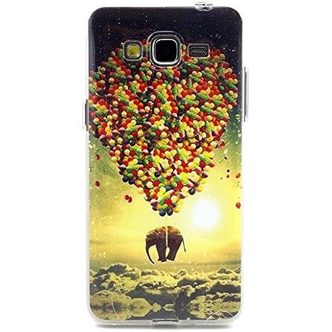 Beiuns Carcasa de TPU y silicona para Samsung Galaxy Grand Neo Plus Funda - N126 el elefante y el globo