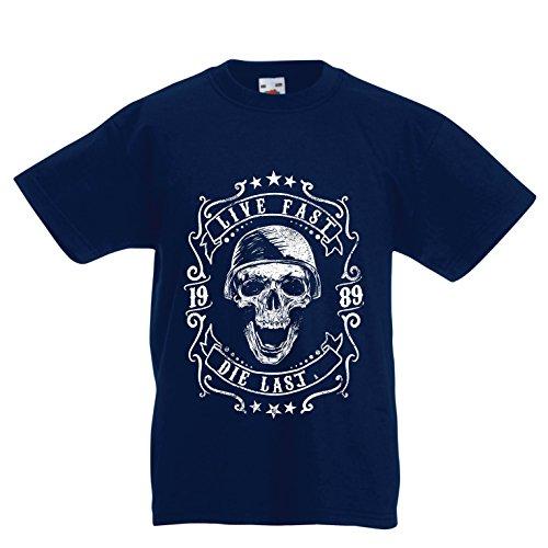 lepni.me Kinder Jungen/Mädchen T-Shirt Lebe schnell - stirb zuletzt, Fahrradermine, Motorradbekleidung, Liebe zum Fahren, tolles Geschenk für Biker (14-15 Years Dunkelblau Mehrfarben)