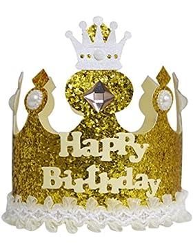 A-szcxtop Pure hecho a mano corona cumpleaños gorra para niños Record el crecimiento Kid 's cada apto para ambos...