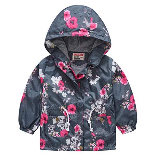 Jaysis Kleinkind Baumwolle Trenchcoat Warme Sweatshirt Jungen Mädchen Cartoon Blumen Drucken Windjacke Slim Fit Hoodie Versteckter Reißverschluss Winddicht