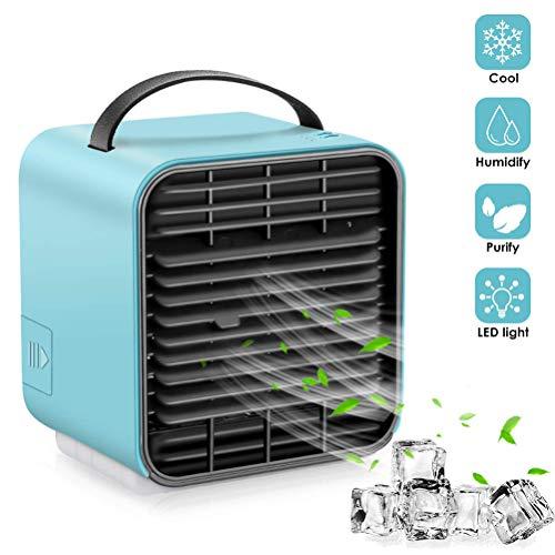 Mini Luftkühler USB Ventilator mit Wasserkühlung Mobile Klimaanlage Luftbefeuchter Luftreiniger Leise, mit Nachtlicht und Ladefunktion 3 Geschwindigkeit Kann Ätherisches Öl Hinzufügen für Hause Büro - Nacht Luftbefeuchter Ersatz-filter