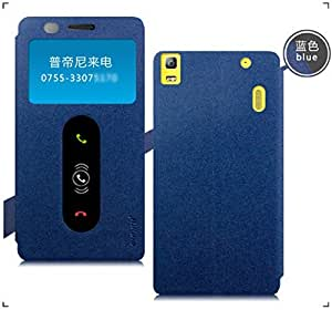 Pudini Goldsand flip cover for Lenovo K3 Note [Free HD Screenguard] - Blue