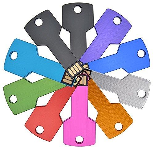 Chiavetta USB 16GB - 10 pezzi Pennette USB 2.0 - Chiave del Metallo Multicolorato by FEBNISCTE