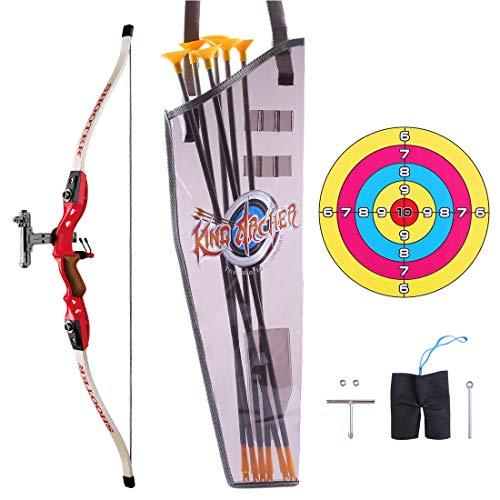 YxFlower Pfeil und Bogen Kinder Set, Outdoor Schießspiele mit 6 Starken Saugnapfpfeilen Spielzeug für draußen ab 6 Jahre
