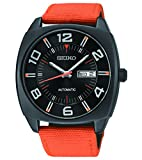 Seiko Recraft Series Automatic Watch with 43.5mm Black PVD Case, Orange Canvas Strap SNKN39