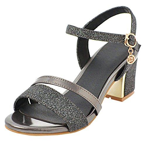 Artfaerie Damen Glitzer Chunky Heels Sandalen mit Blockabsatz und Riemchen Sandaletten Open Toe Sommerschuhe -