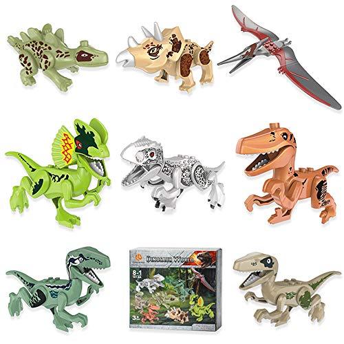 Lehoo Castle Mini Dinosaurier Spielzeug 8 Packungen, Dinosaurier Figur Bausteine für Kleinkinder, nehmen Spielzeug Dinosaurier für Kinder, Dinosaurier Party Supplies, Spielzeug für 4-5