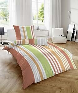 2 tlg Mikro Seersucker Sommer Bettwäsche Garnitur Set Streifen Größe 135 x 200 cm Kopfkissen 80 x 80 cm, 100% Polyester, Farbe Orange, mit Reißverschluss