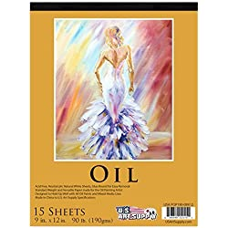 U.S. Art Supply 9 x 12 Premium Heavy-Weight Oil Painting Paper Pad, 90 Pound (190gsm), Pad of 15-Sheets by Us Art Supply