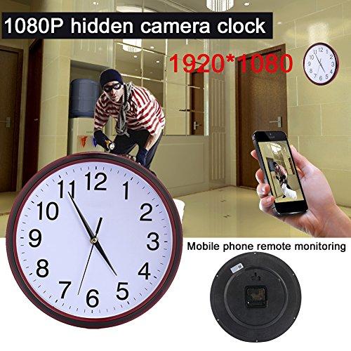 Galleria fotografica Cewaal Videocamera WiFi Monitor Wall Clock HD 1080P WIFI Supporto per orologio da parete Supporto IOS / Android / PC Remoto Allarme di rilevamento video e movimento in tempo reale per la sicurezza dom