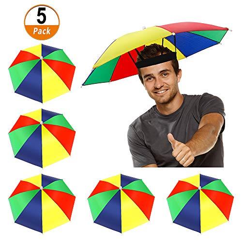 Heqishun 5 Piezas Sombreros de Paraguas Sombreros de Sombrillas Gorros de Paraguas con Banda Elástica Paraguas de Cabeza Sombreros de Pesca Playa