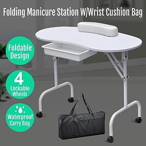 Popamazing Manicure Table Nail Technician Workstation Art Desk with Drawer + Carry Bag + Wrist Rest Test