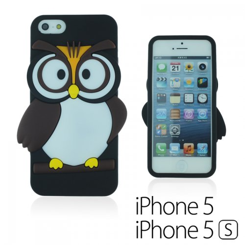 OBiDi - 3D Mince Hibou Coque en Silicone / Housse pour Apple iPhone SE / Apple iPhone 5S / 5 - Jaune avec 3 Film de Protection et Stylet Noir