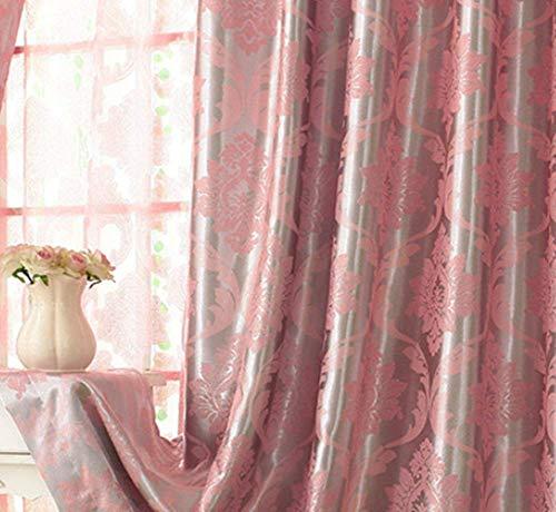 TYP Mall Hoher Verdunkelungsvorhang Verdicken Doppelseitiger Jacquard-Stoff Modern Isolierung, Einfarbig Wohnzimmer Schlafzimmer Raumhohe Fenster (1 Stück) Montagelocher,Pink,250x200cm