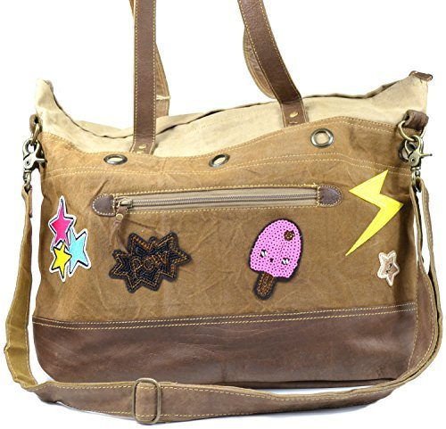 Sunsa Vintage Taschen, Borsa tote donna Sticker Smiley