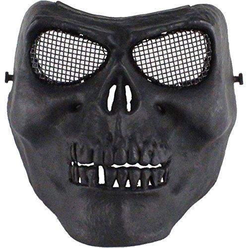 TZTED Halbe Gesichtsmaske Totenkopf Im Freien Für Airsoft Paintball CS Krieg Spiel BB Gun Cool Scary Ghost Halloween Party Maske,Black
