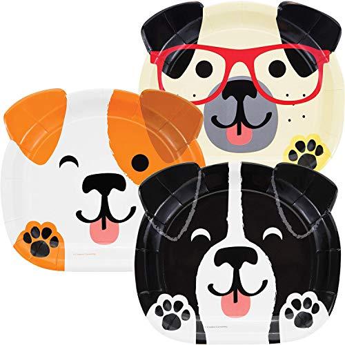 8 geformte Teller * Hundeparty * für eine Party rund um Haustiere | Jack Russell Terrier Mops Mottoparty Kinder Motto Hund Hunde Haustier Knochen Tier Party Pappteller Kindergeburtstag Geburtstag -