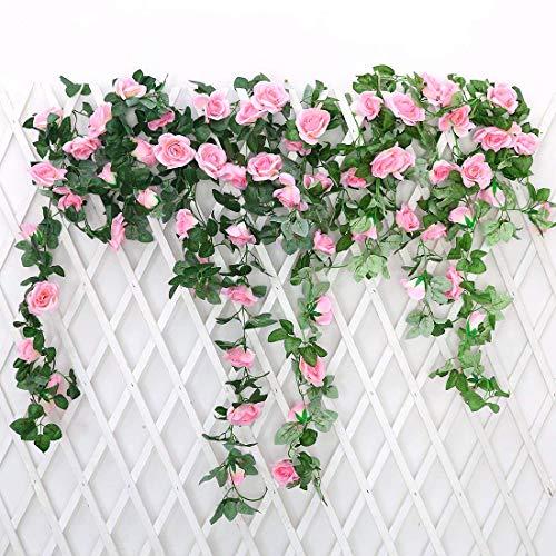 JUSTOYOU 2 Pack 7.2ft Künstliche Fake Rose Girlande Reben Hängende Seide Blumen für Outdoor Indoor Hochzeit Wand Badroom Dekoration (Rosa)
