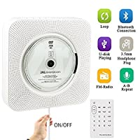 [Upgraded] Portable CD Player, Beatife 5-IN-1 Wall Mounted CD Music Player HiFi Bluetooth Speaker Home Audio Boombox with Remote Control USB Drive AUX in& 3.5mm Headphone Jack with Bonus Accessories