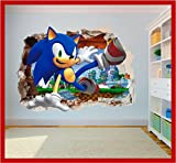 Sonic the Hedgehog Hole in Wall 3D Smash Art Printed Vinyl Sticker Decal (SS40072) (Small 280 x 200mm)