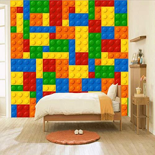 Anpassbare Größe 3D Wandbilder Tapete Für Wohnzimmer Ziegel Lego Kinder Schlafzimmer Spielzeuggeschäft Seidentuch Wandbild Tapete Dekoration 300X210 Cm A1 (Ziegel Menschen Die Lego)