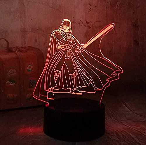 3D RGB Led Night Light Cool Star Wars Darth Vader 7 Color Chang Sleep Lámpara de mesa Novedad Decoración...