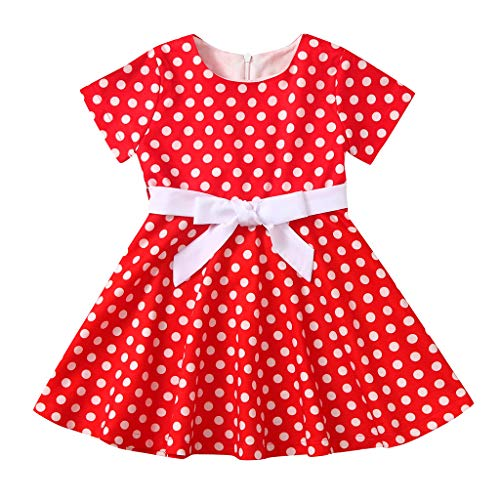 Livoral Mädchen-Weinlese-Kleid-Kind-Tupfen-Prinzessin Swing Country Rock Party Dress(Rot,X-Large)