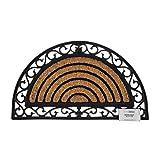 Homescapes Halbrunde Schmutzfangmatte Fußmatte 45 x 75 cm (Breite x Länge) Türmatte aus Kokosfaser mit Ornament Rahmen aus Gummi strapazierfähiger Fußabtreter