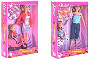 GLOBO- Fashion Doll W/Baby/Bike/Access. 2 Asst (39085), (1)