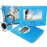 """Lecteur DVD portable FUNAVO de 7.5"""", écran pivotant, batterie rechargeable de 5 heures, casque et sac assorti, prend en charge les cartes SD, port USB, formats de lecture directe AVI /RMVB/ MP3 / JPEG"""